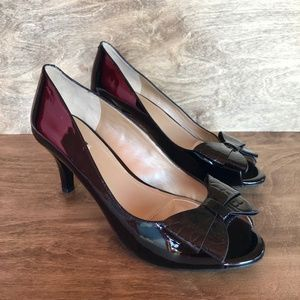 ALEX MARIE patent leather open toe heels w/ bow 8